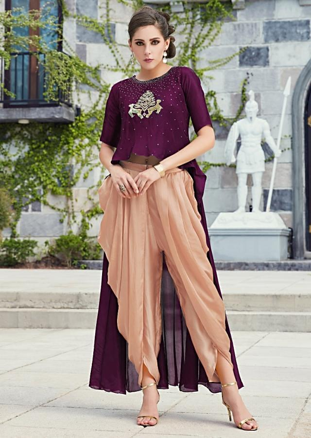 Plum High Low Top Matched With Peach Dhoti Pants Online - Kalki Fashion