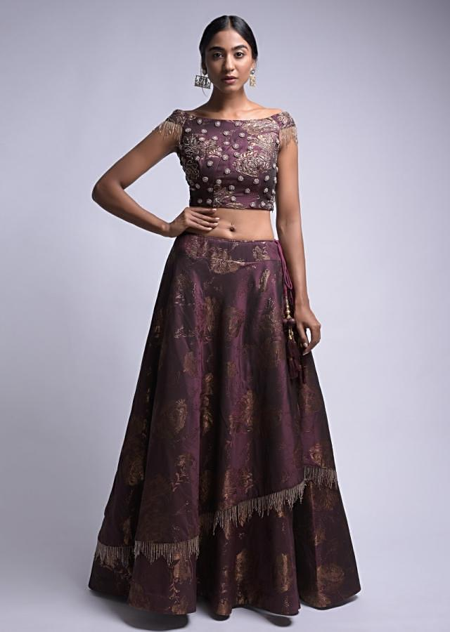Plum Purple Lehenga Choli In Silk With Weaved Floral Pattern And Cut Dana Fringes Online - Kalki Fashion