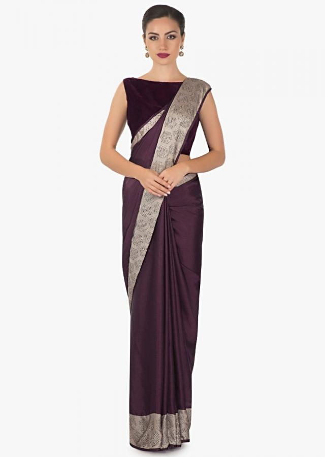 plum satin  kundan saree with foil  and a silver berry border only on kalki