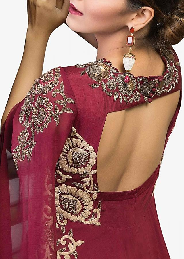 Plum anarkali suit in georgette with resham and sequin embroidered neckline and side panel
