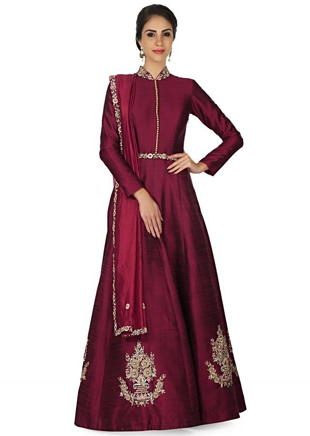 Plum anarkali suit in raw silk with resham embroidery and fancy belt only on Kalki
