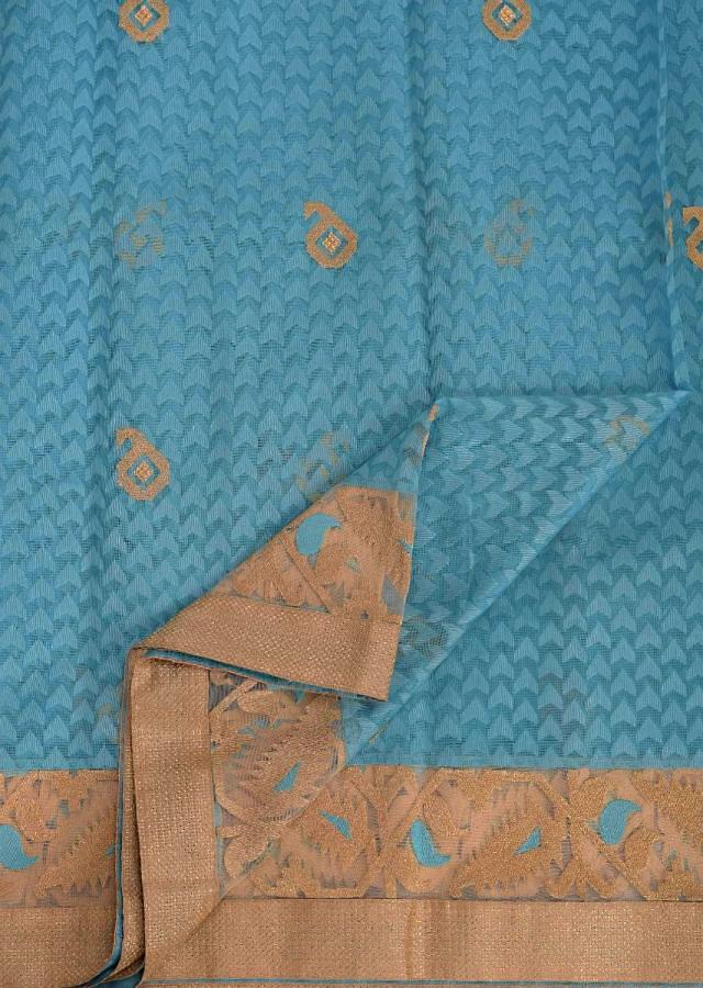 Police Strobe Blue Banarasi Saree In Jacquard Silk With Self Weaved Geometric Buttis All Over Online - Kalki Fashion