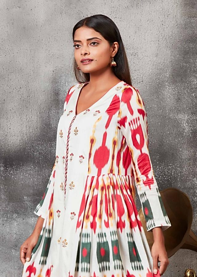 Porcelain White A Line Suit With Ikkat Print And Thread Embroidery Online - Kalki Fashion