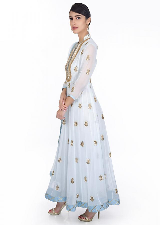 Powder Blue Anarkali Dress In Gotta Patch Embroidery Paired With Matching Chiffon Dupatta Online - Kalki Fashion
