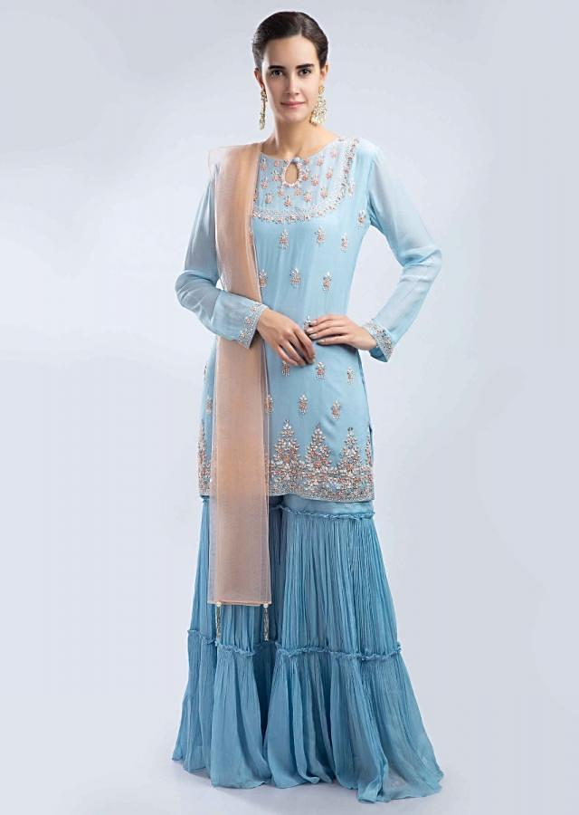 Powder Blue Sharara Suit Set With Embroidery Work And Peach Net Dupatta Online - Kalki Fashion