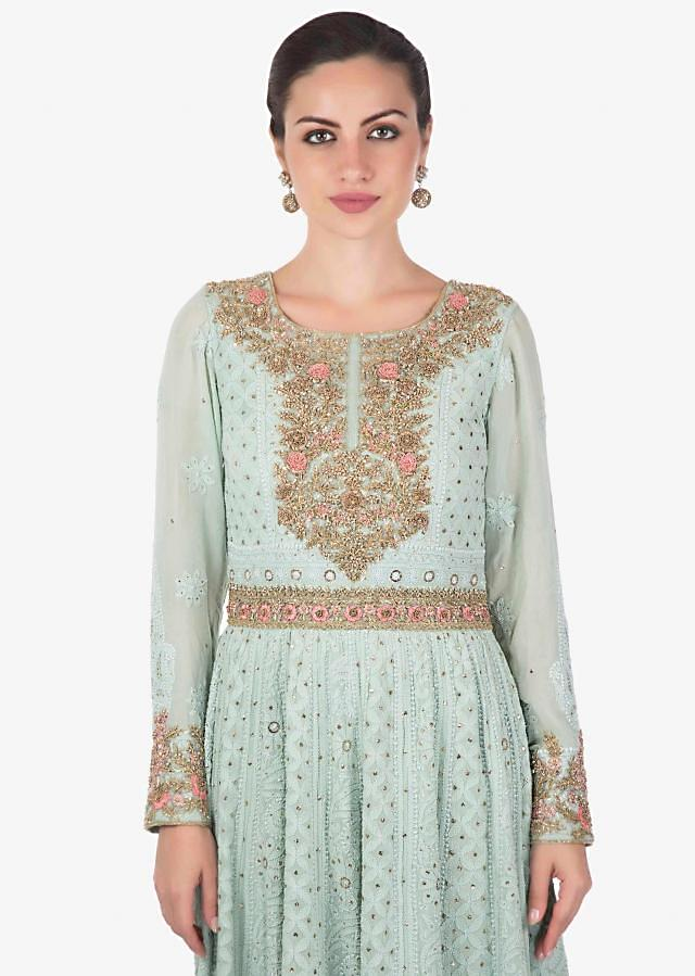 Powder Blue Georgette Gown and Net Dupatta with Lucknowi Thread Work Only on Kalki