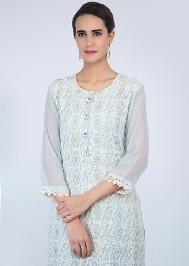 Powder blue georgette palazzo suit set in chicken embroidery only on Kalki