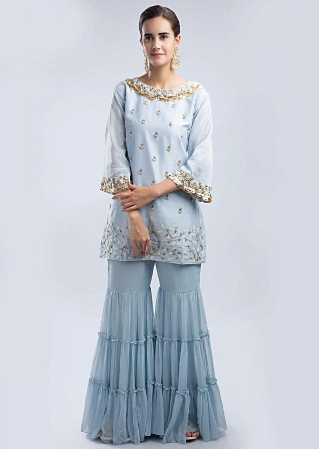 Powder Blue Sharara Suit Set In Georgette With A Jewel Embroidered Neckline Online - Kalki Fashion