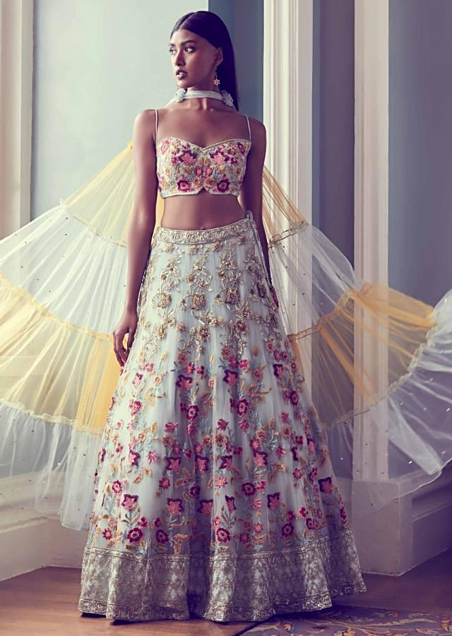 Powder Blue Lehenga Choli In  Net With Colorful Floral Embroidery Online - Kalki Fashion
