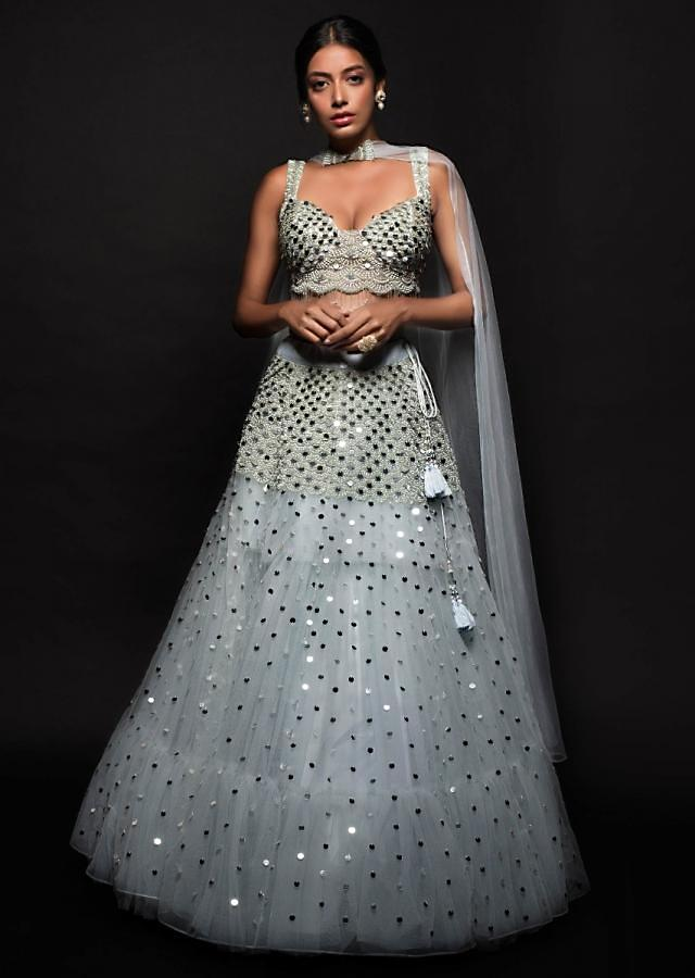Nia Sharma Powder Blue Lehenga Set In Net With Fancy Two Piece Dupatta Attached At The Neckline