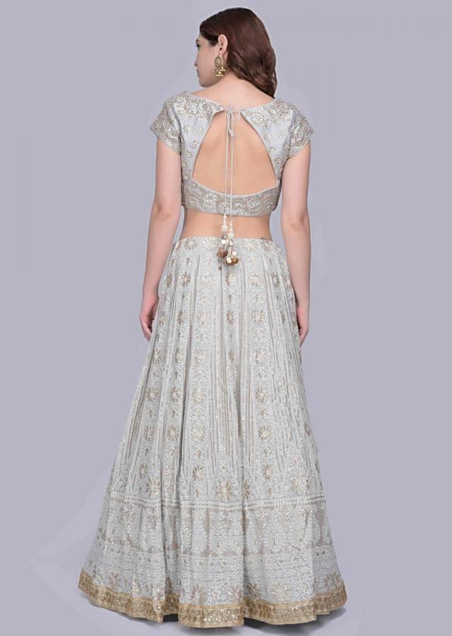 Powder blue lucknowi embroidered georgette lehenga set with matching dupatta only on Kalki