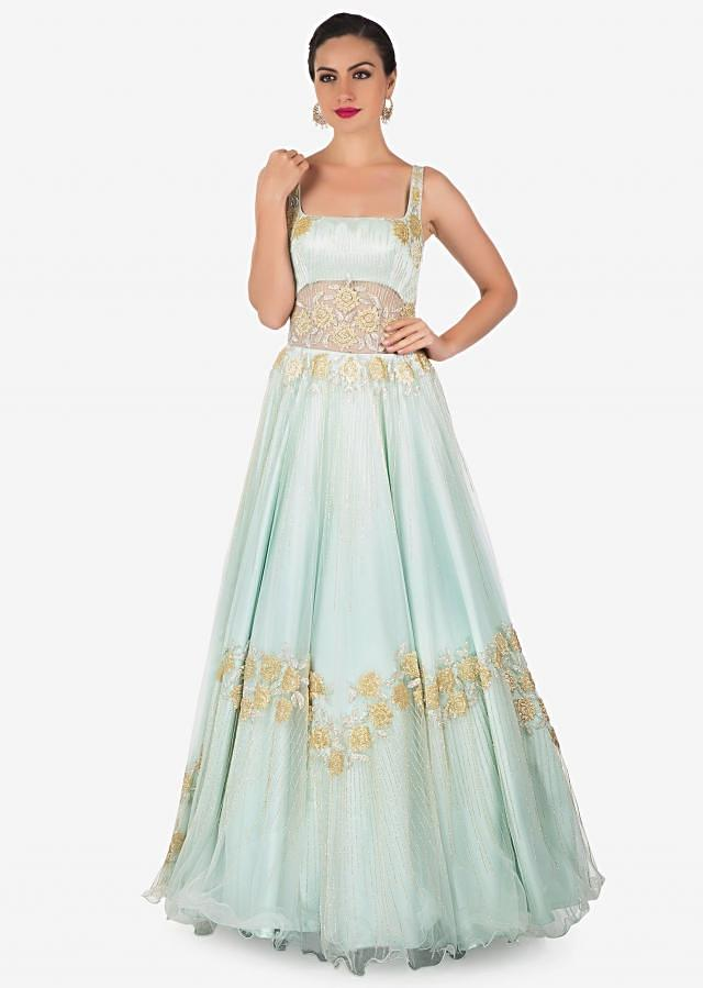 Powder Blue Net and Satin Gown Adorned with Moti and Resham Work Only on Kalki