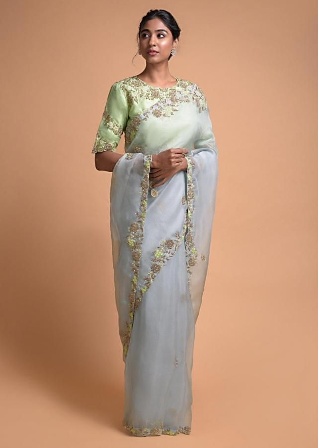Powder Blue Saree In Organza With Embellished Floral Pattern On The Border Online - Kalki Fashion