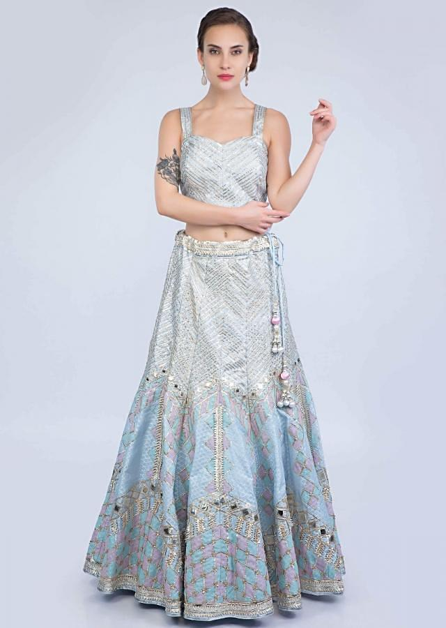 Powder Blue Lehenga Set In Silk With Golden And Silver Lace Embroidery Online - Kalki Fashion