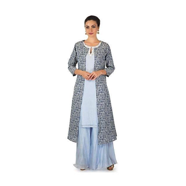 Powder blue straight palazzo suit matched with printed jacket only on Kalki