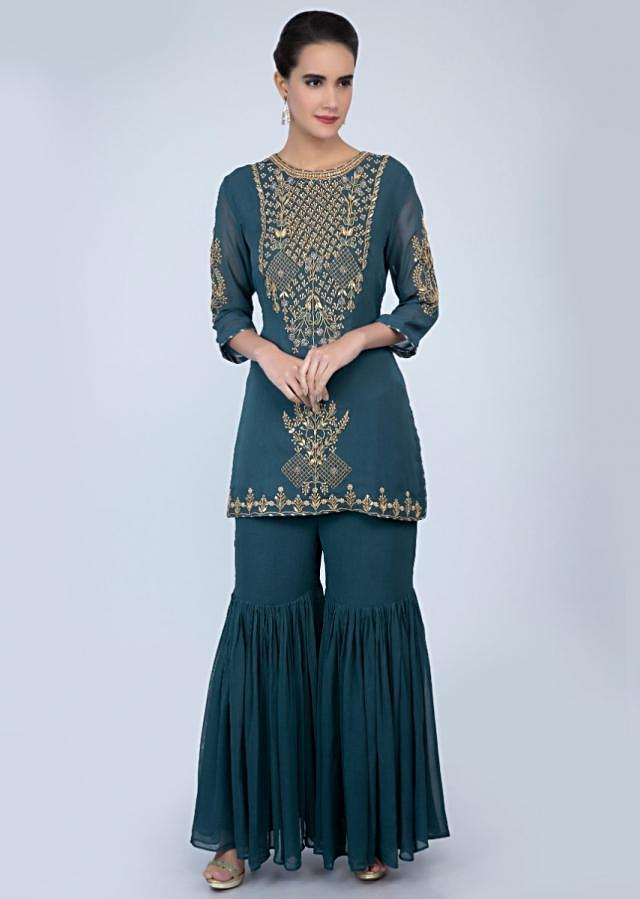 Powder Cobalt Blue Sharara Suit In Georgette Adorned With Embroidery Work Online - Kalki Fashion