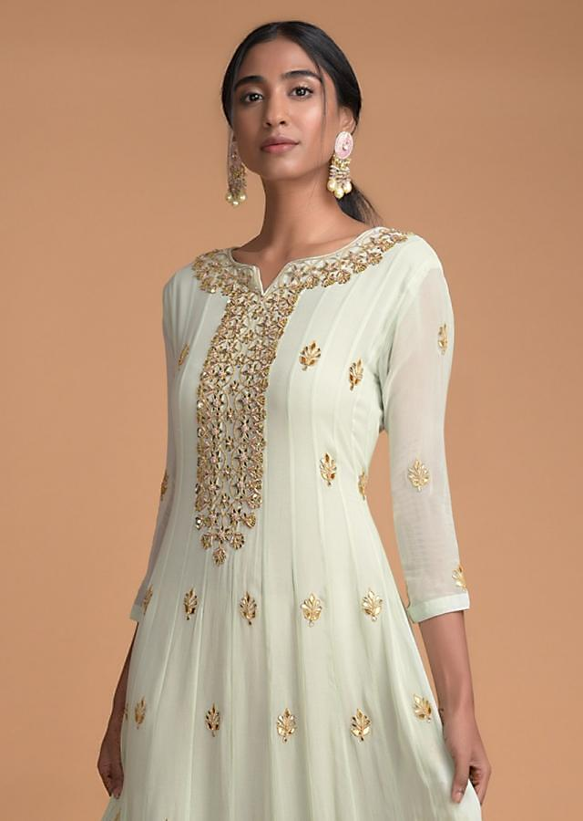 Powder Green Anarkali Suit With Gotta Patch And Zardosi Embroidery In Floral Motifs Online - Kalki Fashion