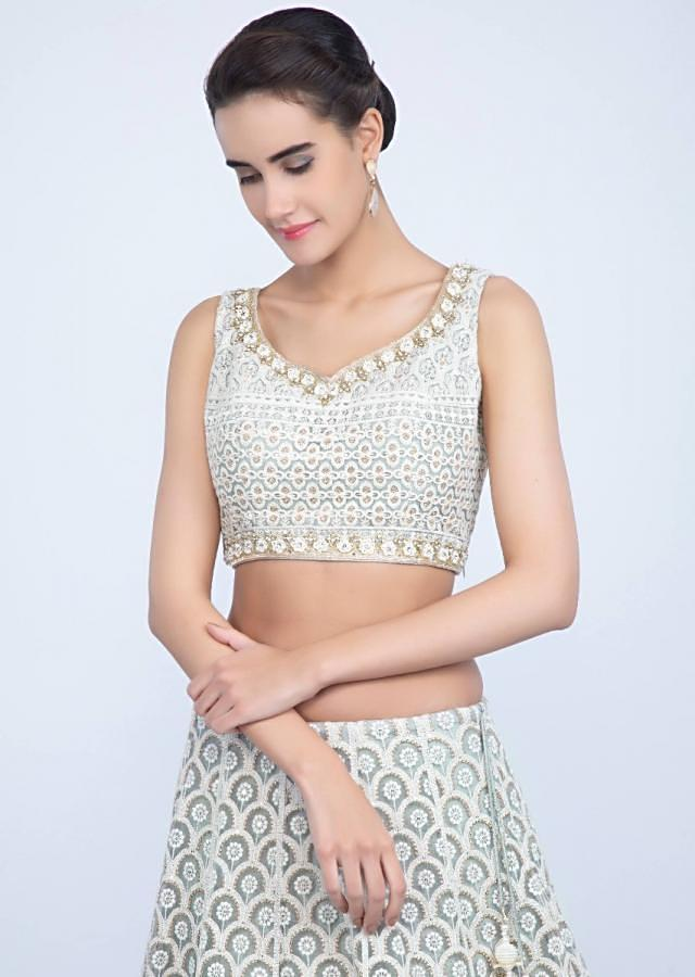 Powder Grey Lehenga Set With Thread Embroidery And Net Ruching At The Hem Online - Kalki Fashion