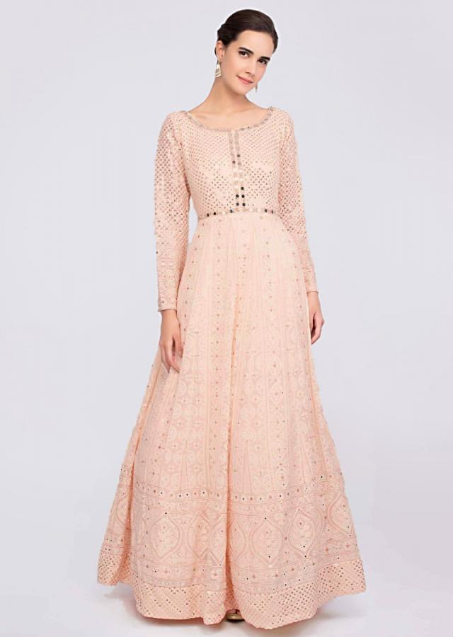 Powder Peach Anarkali Suit In Georgette With Lucknowi Embroidery Online - Kalki Fashion