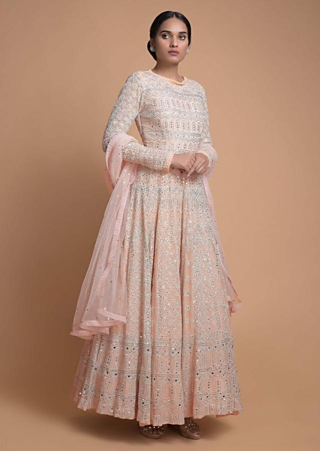 Powder Peach Anarkali Suit With Abla Work In Geometric And Floral Pattern Online - Kalki Fashion