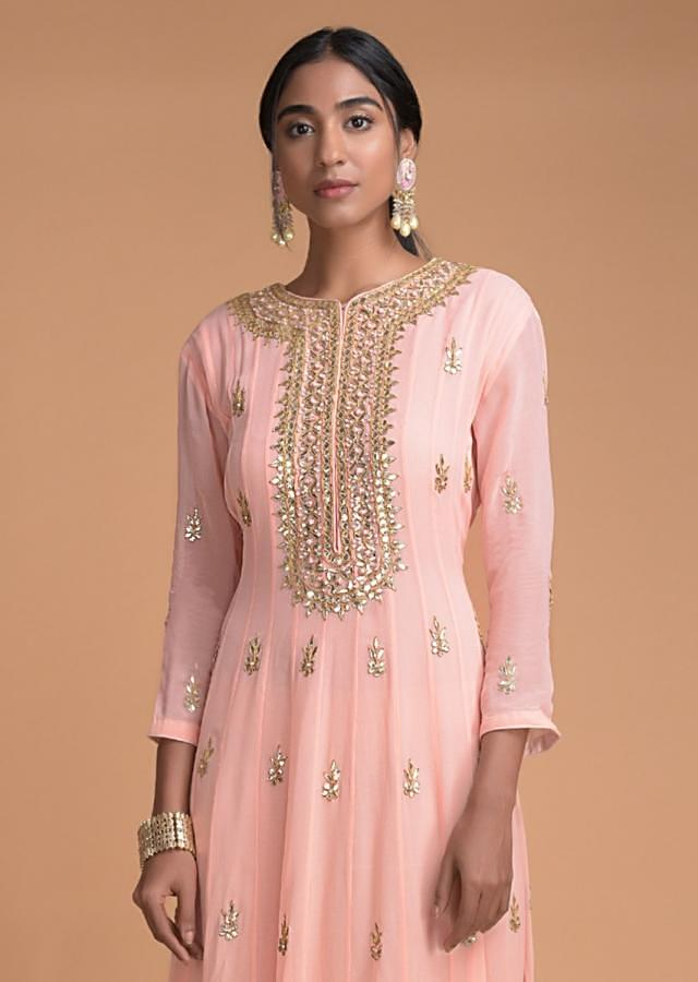Powder Peach Anarkali Suit With Gotta Patch Embroidery On The Placket And Buttis Online - Kalki Fashion