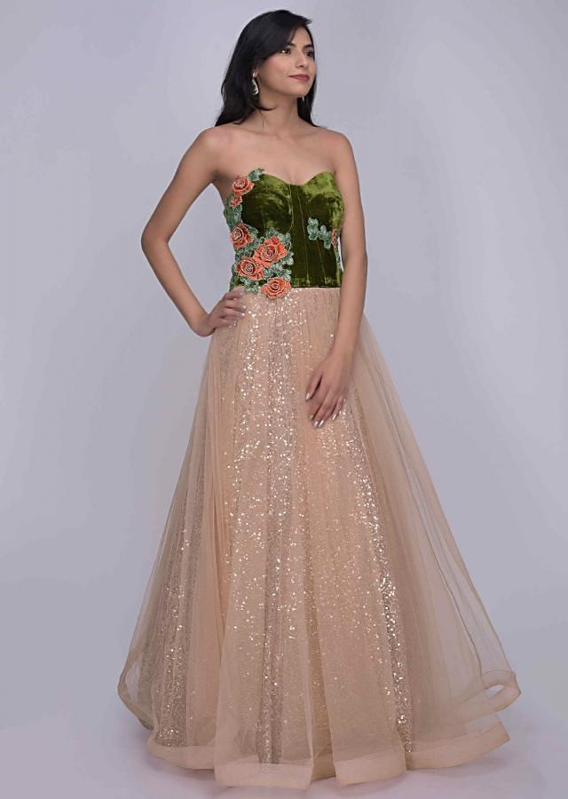 Powder peach and moss green ethnic gown with sequins under layer only on Kalki