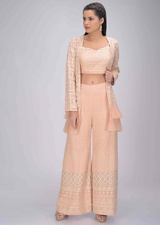 Powder Peach Palazzo And Crop Top Set In In Cotton With Matching Ruffle Layered Jacket Online - Kalki Fashion