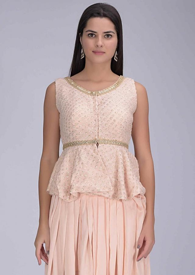 Powder Peach Dhoti In Crepe With Chiffon Crop Top And Net Jacket Online - Kalki Fashion