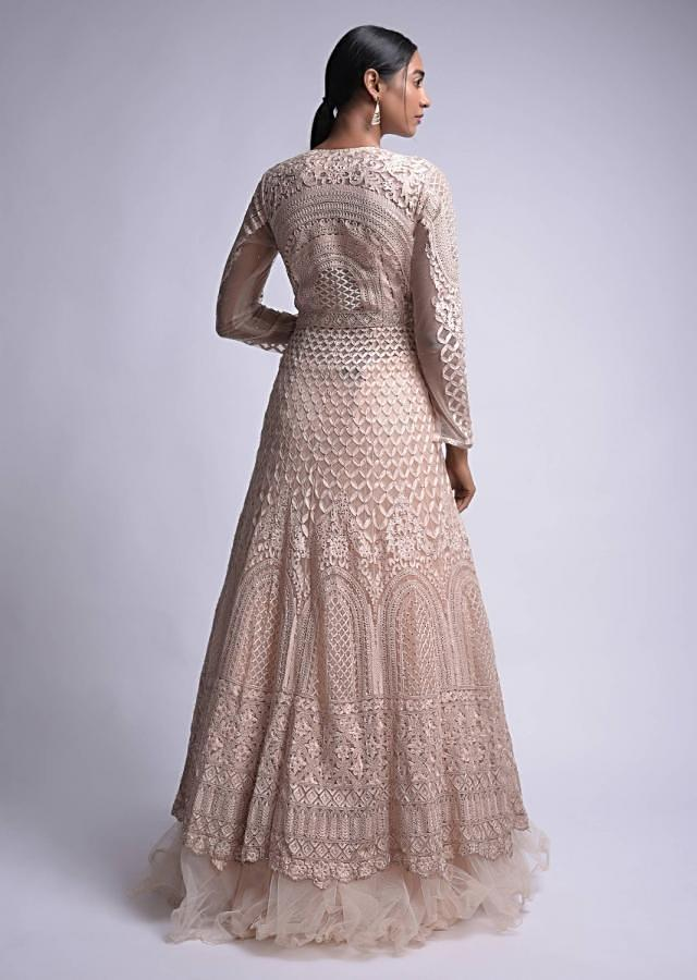 Powder Peach Lehenga And Long Kurta With Thread And Kundan Work Online - Kalki Fashion