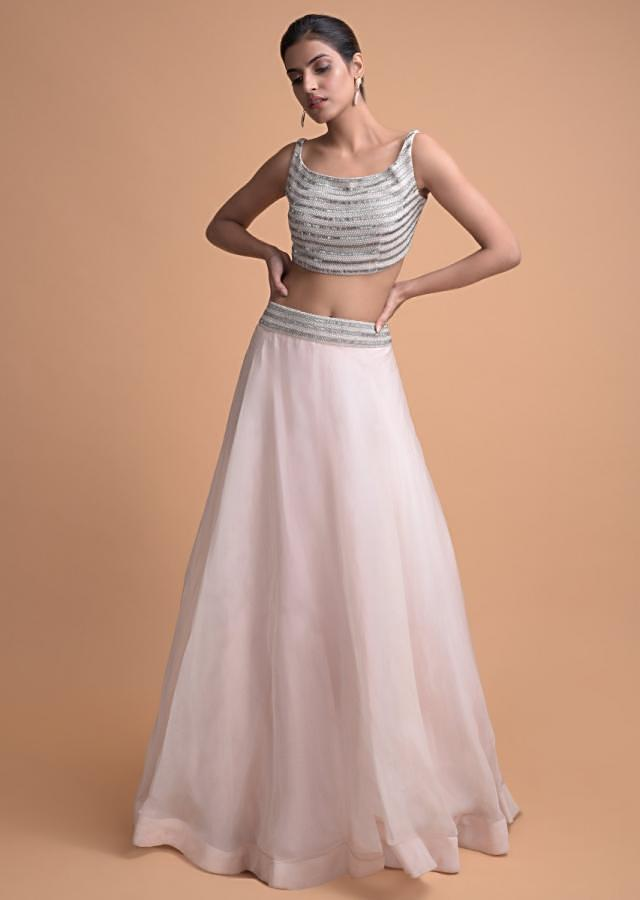 Powder Peach Skirt And Heavily Embellished Crop Top With A Matching Long Jacket Online - Kalki Fashion