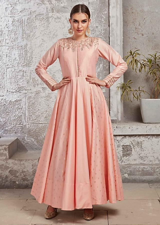 Powder Pink Anarkali Suit In Silk With Thread And Gotta Patch Embroidery Online - Kalki Fashion