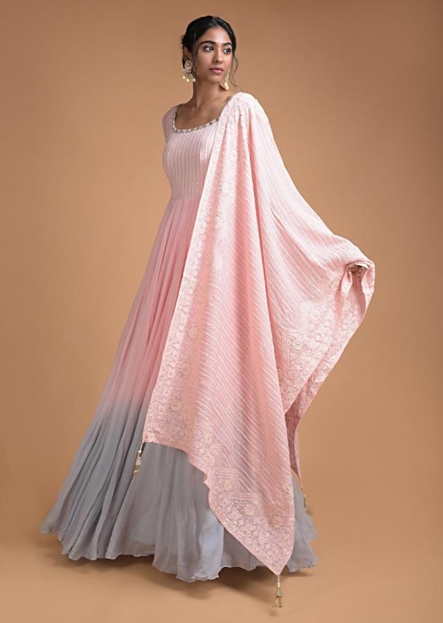 Powder Pink And Blue Shaded Anarkali Suit With Thread Embroidered Bodice And Dupatta Online - Kalki Fashion