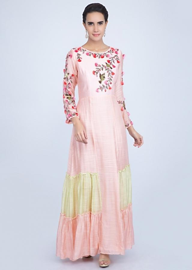 Powder pink and green two Toned tunic dress with embroidered bodice only on Kalki