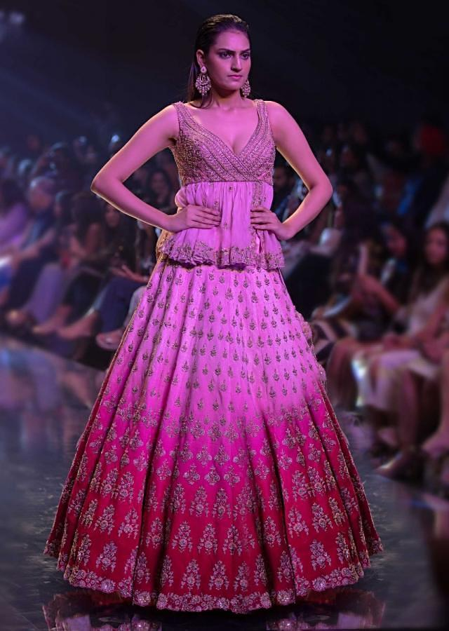 Misty Rose And Fuschia Rose Ombre Lehenga With Embroidered Buttis And Peplum Choli Online - Kalki Fashion