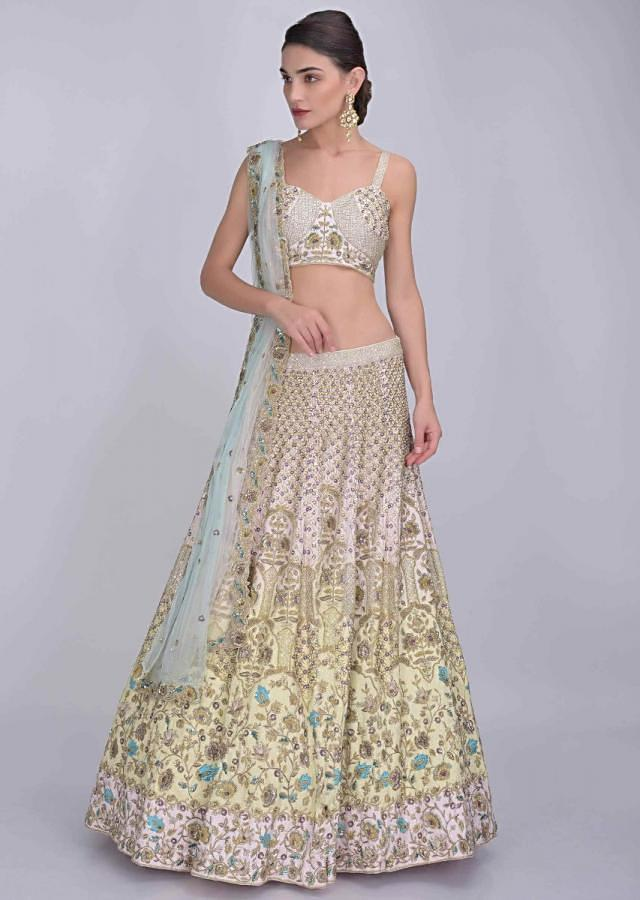 Powder Pink And Yellow Shaded Raw Silk Lehenga With Pink Blouse And Shaded Net Dupatta Online - Kalki Fashion