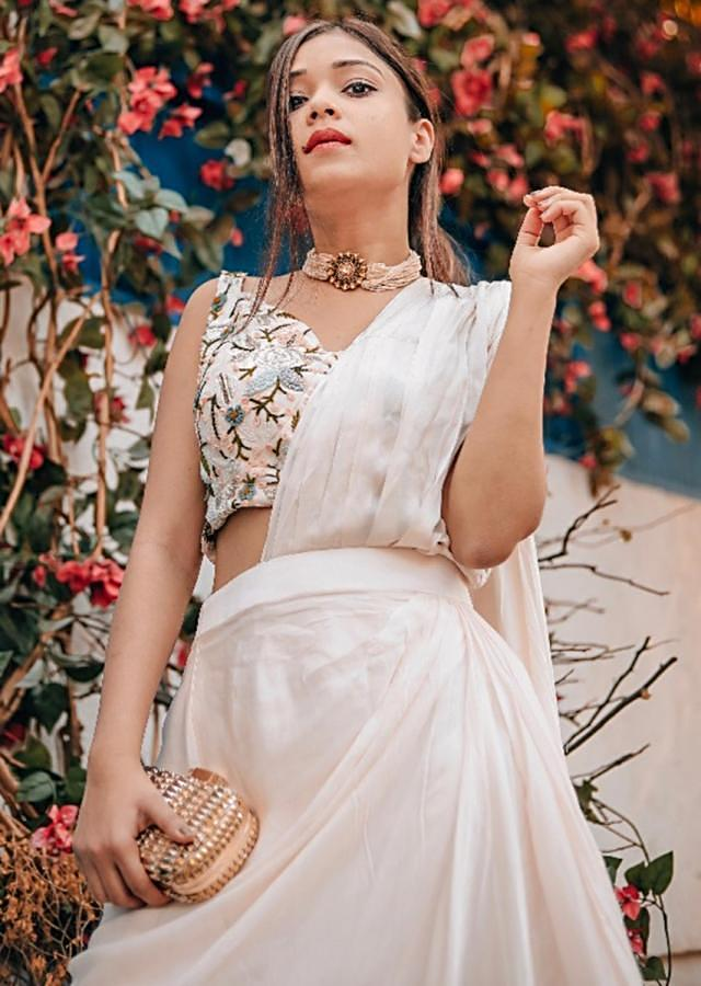 Powder Pink Draped Saree With Floral Embroidered Jacket Online - Kalki Fashion