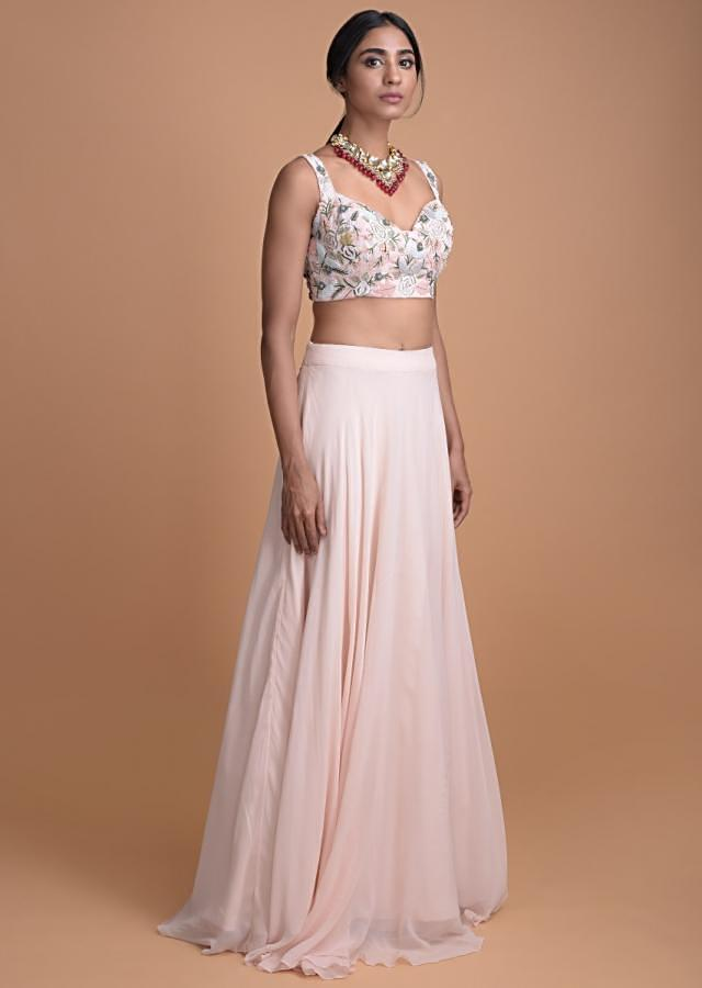 Powder Pink Flared Skirt With And Embroidered Crop Top And Jacket Online - Kalki Fashion