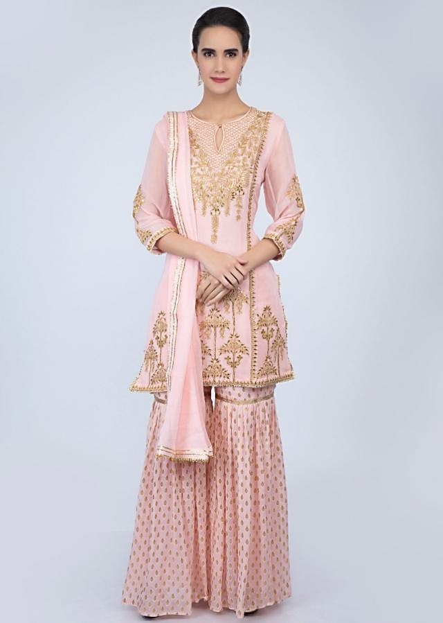 Powder pink georgette sharara suit with front panel embroidery only on Kalki