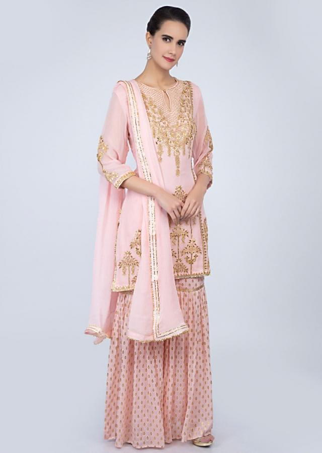 Powder Pink Sharara Suit In Georgette With Front Panel Embroidery Online - Kalki Fashion