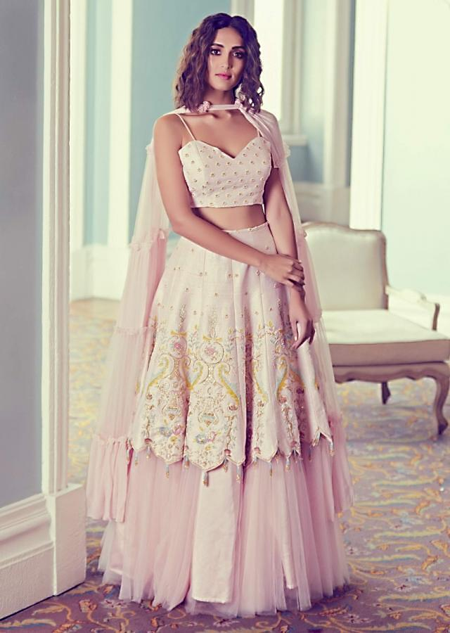 Powder Pink Lehenga Choli In Raw Silk With Fancy Hem And Net Under layer Online - Kalki Fashion