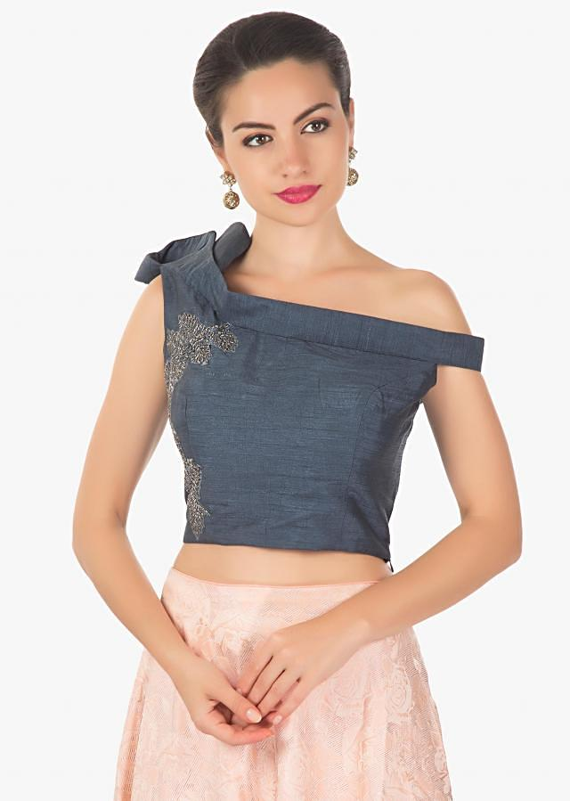 Powder pink lehenga in jacquard silk with berry blue blouse adorn in cut dana only on Kalki