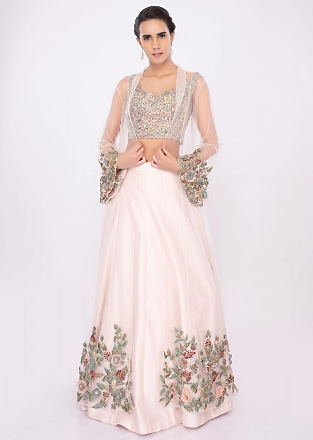 Powder pink lehenga with fancy fabric blouse and net embroidered jacket only on kalki