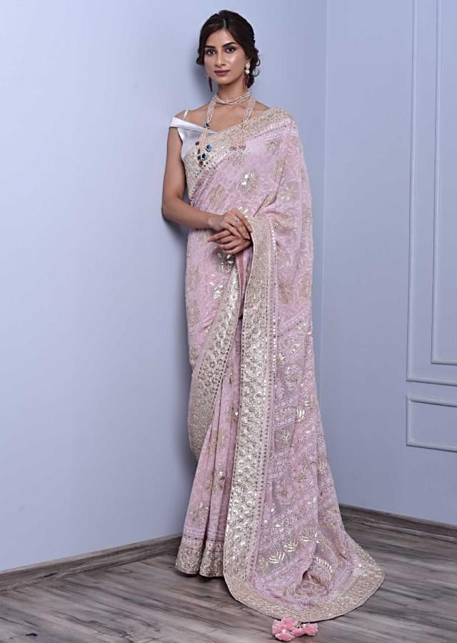 Powder pink lucknowi embroidered saree with gotta patch and badla highlight only on Kalki