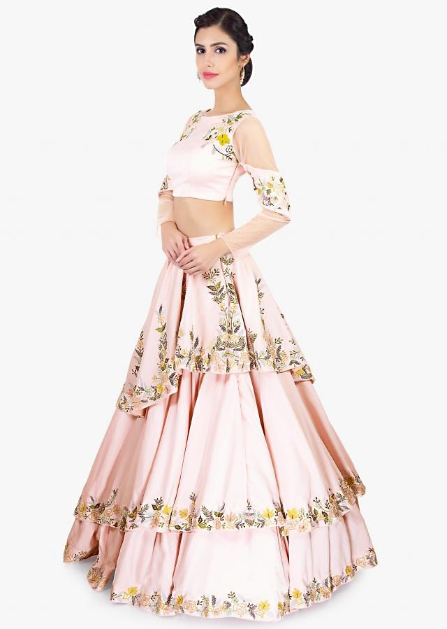 Powder Pink Layered Skirt In Crepe Paired With Floral Embroidered Crop Top Online - Kalki Fashion