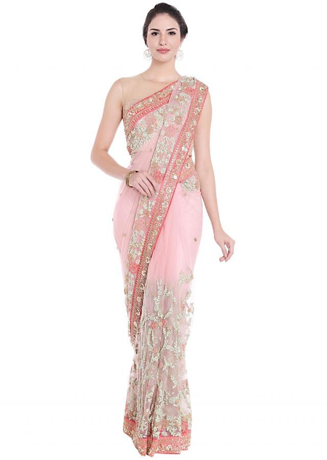 Powder pink net saree in cod zari and resham embroidery only on Kalki