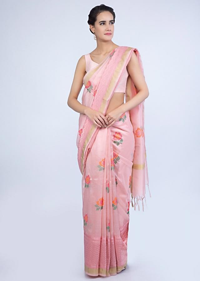 cc3b5cf948 Powder pink organza saree in floral embroidered butti only on Kalki