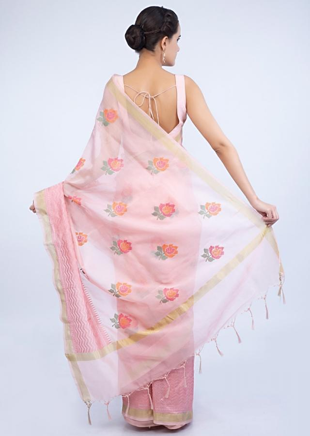 Powder pink organza saree in floral embroidered butti only on Kalki
