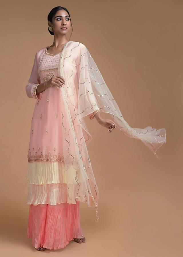 Powder Pink Palazzo Suit In In Crepe With Cream Frill Layers On The Hemline Online - Kalki Fashion