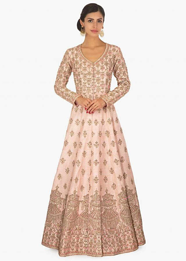 Powder pink raw silk  anarkali embellished  gown only on Kalki