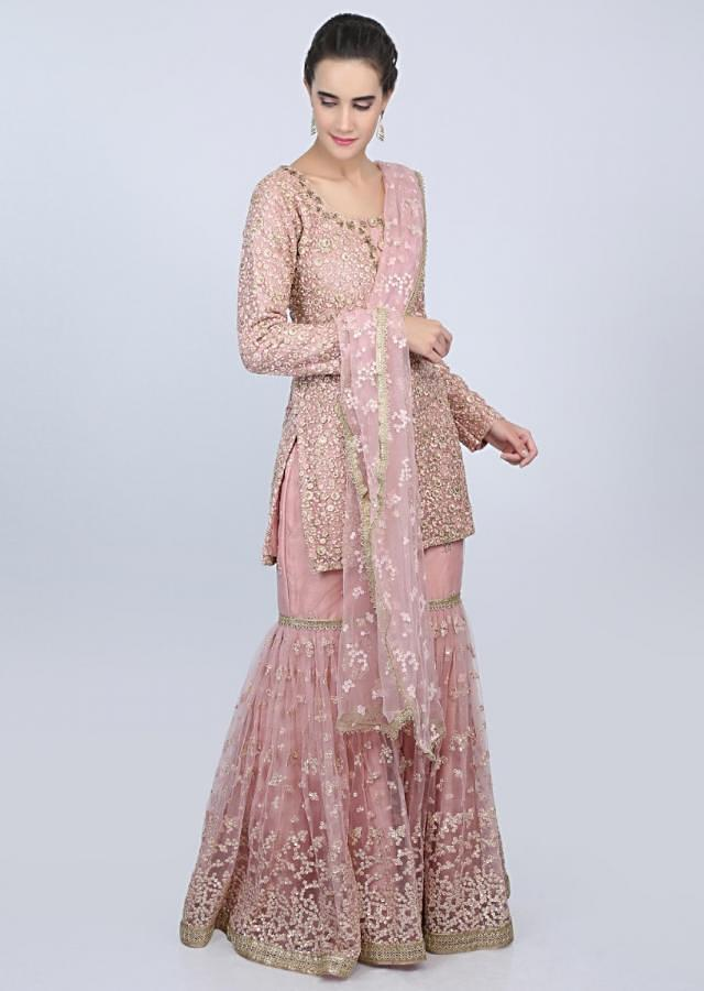 Powder Pink Sharara Suit In Raw Silk With Embellished In Net Top Layer Online - Kalki Fashion
